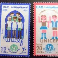 Sellos: EGIPTO 1968 - YVERT Nº 734 / 735 ** MNH - UNICEF - DIA MUNDIAL DE LA INFANCIA. Lote 94659887