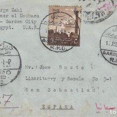 Sellos: CARTA: 1959 EL CAIRO - SAN SEBASTIAN. Lote 97995979