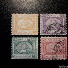 Timbres: EGIPTO. YVERT 8/11. SIN 12/13. SERIE CORTA USADA. ESFINGE Y PIRÁMIDES.. Lote 125351956