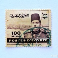 Sellos: SELLO POSTAL EGIPTO 1939 , 100 MILLIEME, REY FAROUK FRENTE A LA PRESA DE ASWAN, USADO. Lote 154921158