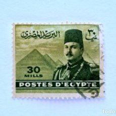 Sellos: SELLO POSTAL EGIPTO 1947 , 30 MILLIEME, REY FAROUK FRENTE A LAS PIRAMIDES DE GIZEH, USADO. Lote 154923210