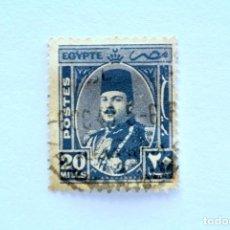 Sellos: SELLO POSTAL EGIPTO 1945 , 20 MILLEME , REY FAROUK, USADO. Lote 154934522