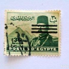 Sellos: SELLO POSTAL EGIPTO 1953 , 30 MILLEME , REY FAROUK, USADO. Lote 154940018