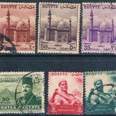 Sellos: EGIPTO 1947 / 55 - YVERT 256 + 319 + 321 + 322 + 323 + 331 + 320 A + 367 A + 368 ( USADOS ). Lote 155558830