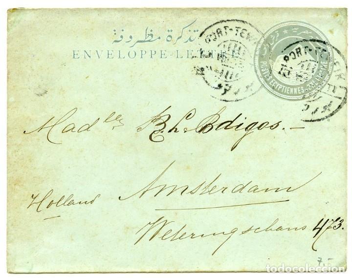 ENTERO POSTAL ENVIADO DESDE PORT TEWFIK A AMSTERDAM, 1903 (Sellos - Extranjero - África - Egipto)
