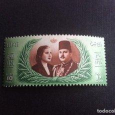 Sellos: EGIPTO Nº YVERT 280*** AÑO 1951. SEGUNDO MATRIMONIO DEL REY FARUK. Lote 244781020