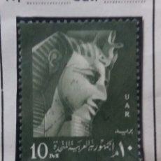 Sellos: EGIPTO, 10 M, FARAON REMESSES II, 1959, SIN USAR. Lote 175223545