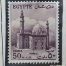 Sellos: EGIPTO, 50 M, MEZQUITA SULTAL HUSSEIN, AÑO 1953, SIN USAR. Lote 175225258