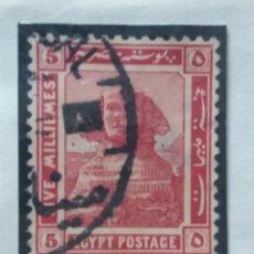 Sellos: EGIPTO, 5 M, GRAN SPHINKS GIZE, AÑO 1922, SIN USAR. Lote 175287808