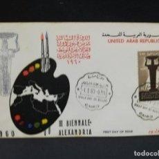 Sellos: SOBRE PRIMER DIA. AFRICA. EGIPTO. III BIENALE ALEXANDRIA. 1960.. Lote 184906232
