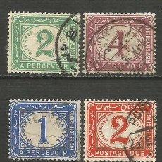 Sellos: EGIPTO 1889 IMPUESTOS TAXE YVERT NUM. 15/18 SERIE COMPLETA USADA. Lote 192587643