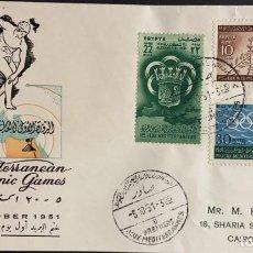Sellos: O) EGIPTO 1951, ALEJANDRIA OLIMPICA, ESTADIO KING FAROUK, BRAZOS DE ALEJANDRIA, PRIMEROS JUEGOS OLIM. Lote 243251770