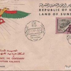 Sellos: SOBRE PRIMER DÍA DE EGIPTO. CENTENARIO DEL FERROCARRIL. Lote 277542148
