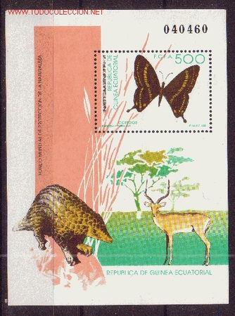 GUINEA ECUATORIAL EDIFIL 158 HB*** - AÑO 1992 - PROTECCION DE LA NATURALEZA - FAUNA - MARIPOSAS (Sellos - Extranjero - África - Guinea Ecuatorial)