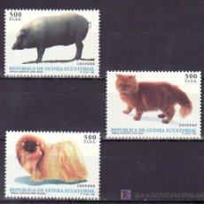 Sellos: .GUINEA ECUATORIAL 196/8 SIN CHARNELA, FAUNA, ANIMALES DOMESTICOS, GATO, PERROS, CERDO. Lote 9602664