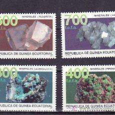 Sellos: .GUINEA ECUATORIAL 178/81 SIN CHARNELA, MINERALES, AURICALCITA, PIROMORFITA, FLUORITA, HALITA, . Lote 107937419