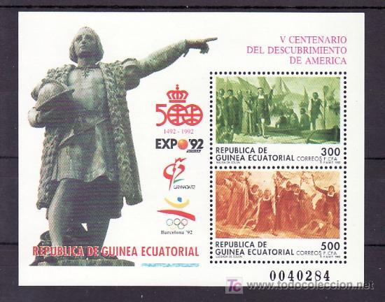 .GUINEA ECUATORIAL 152 SIN CHARNELA, EXPO 92, BARCELONA 92, V CENTENARIO DEL DESCUBRIMIENTO AMERICA (Sellos - Extranjero - África - Guinea Ecuatorial)