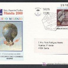 Sellos: .GUINEA ECUATORIAL ENTEROS POSTALES .8 CIRCULADO GLOBO, FERIA Y EXPOSICION FILATELICA FILATELIA 2000. Lote 10696194