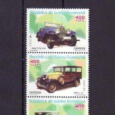 Sellos: .GUINEA ECUATORIAL 310/3 SIN CHARNELA, AUTOMOVIL, ALFA, FORD, BUGATTI, ROCHET. Lote 10522453