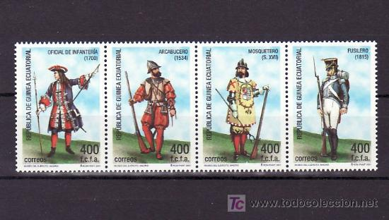 .GUINEA ECUATORIAL 288/91 SIN CHARNELA, UNIFORMES MILITARES, (Sellos - Extranjero - África - Guinea Ecuatorial)