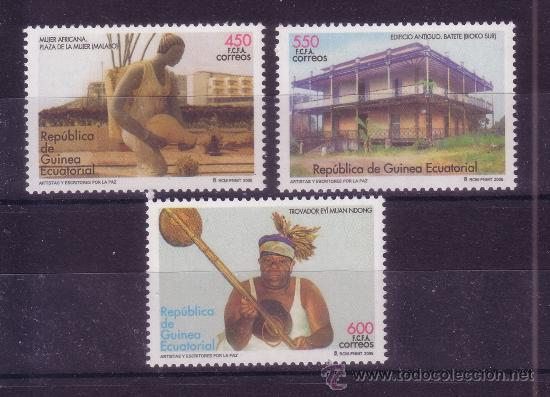 GUINEA ECUATORIAL EDIFIL 357/59*** - AÑO 2005 - ARTISTAS Y ESCRITORES POR LA PAZ (Sellos - Extranjero - África - Guinea Ecuatorial)