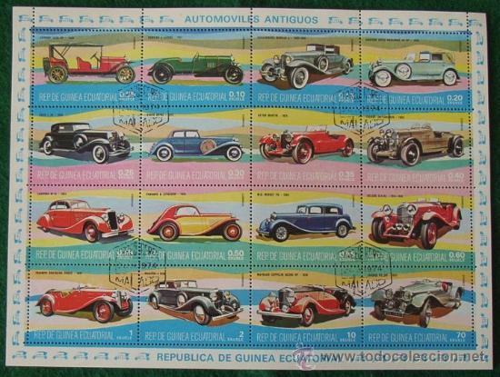 LOTE HOJA 16 SELLOS AUTOMOVILES ANTIGUOS - CLASICOS (AHORRA GASTOS COMPRANDO MAS SELLO) COCHES (Sellos - Extranjero - África - Guinea Ecuatorial)
