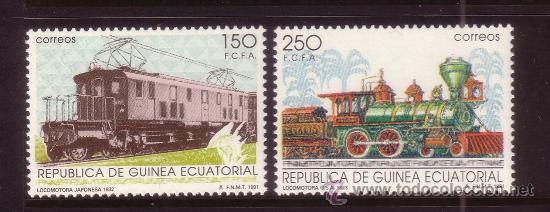 GUINEA ECUATORIAL 146/47*** - AÑO 1991 - TRENES - FERROCARRILES DEL MUNDO (Sellos - Extranjero - África - Guinea Ecuatorial)