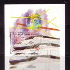 Sellos: GUINEA ECUATORIAL 274 HB*** - AÑO 2000 - TRENES - TREN ESPAÑOL DE ALTA VELOCIDAD AVE. Lote 36494822