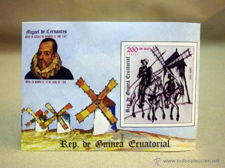 SELLO, DON QUIJOTE, MIGUEL DE CERVANTES, GUINEA ECUATORIAL, 200 EKUELE, CORREO AEREO (Sellos - Extranjero - África - Guinea Ecuatorial)