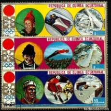 Sellos: GUINEA ECUATORIAL. 3, 8 Y 15 PESETAS GUINEANAS. SAPPORO ' 72. Lote 85644444