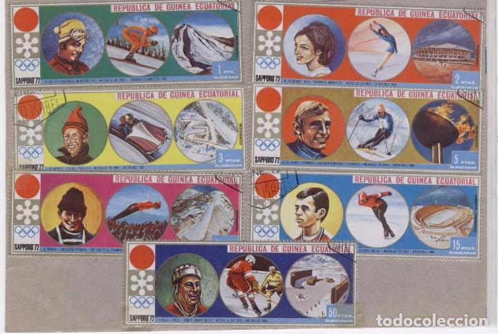 SAPPORO 72. OLIMPIADAS DE INVIERNO. 7 SELLOS EN PESETAS GUINEANAS (Sellos - Extranjero - África - Guinea Ecuatorial)
