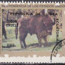 Sellos: 1976 - GUINEA ECUATORIAL - II CENTENARIO DE LA INDEPENDICIA DE USA - 1ª SERIE - BISONTE. Lote 98396051