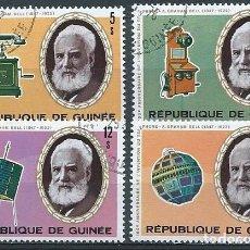 Sellos: REPÚBLICA DE GUINEA,1976,GRAHAM BELL,YVERT 572-575,USADOS. Lote 98732130