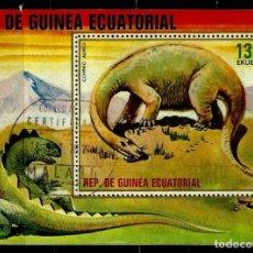 Sellos: GUINEA ECUATORIAL 1978 MI HOJA BLOQUE 304 DIPLODOCUS (USADO). Lote 109403855