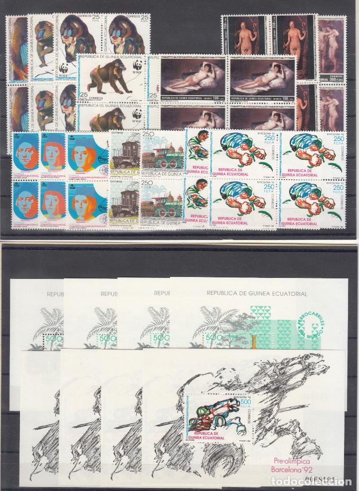 .GUINEA ECUATORIAL 133/48 EN B4 SIN CHARNELA, AÑO 1991 COMPLETO 14 X 4 SELLOS Y 2 X 4 HB (Sellos - Extranjero - África - Guinea Ecuatorial)