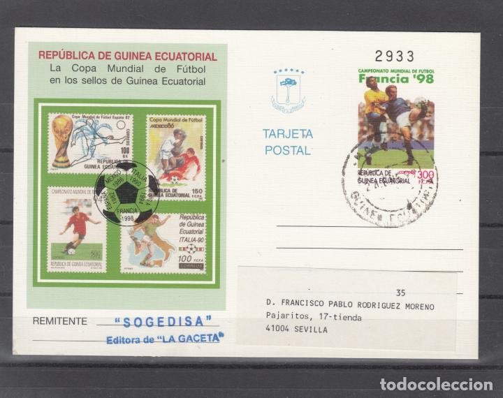 .GUINEA ECUATORIAL ENTEROS POSTALES .5 CIRCULADO, DEPORTE, COPA MUNDIAL DE FUTBOL FRANCIA 98 (Sellos - Extranjero - África - Guinea Ecuatorial)