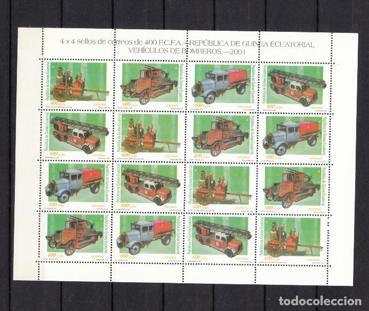 .GUINEA ECUATORIAL 280/3 EN MINIPLIEGO SIN CHARNELA, VEHICULOS DE BOMBEROS, COCHES, (Sellos - Extranjero - África - Guinea Ecuatorial)
