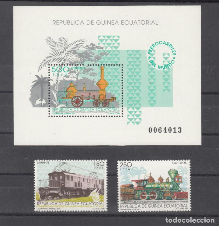 .GUINEA ECUATORIAL 146/8 SIN CHARNELA, FF.CC., LOCOMOTORAS, FERROCARRILES DEL MUNDO, (Sellos - Extranjero - África - Guinea Ecuatorial)