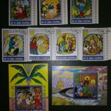 Sellos: GUINEA ECUATORIAL 1974 NAVIDAD SERIE COMPLETA YVERT 50 + PA35 MICHEL 437-443 + BL132-133. Lote 138911140