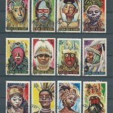 Sellos: REPÚBLICA DE GUINEA,1965,MÁSCARAS,USADOS,YVERT 223-233 Y 51 AÉREO. Lote 142731262