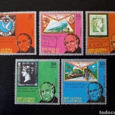 Sellos: GUINEA ECUATORIAL. YVERT SERIE 157 + A-120 SERIE CTA USADA. SIR ROWLAND HILL. SELLOS SOBRE SELLOS. Lote 156474917