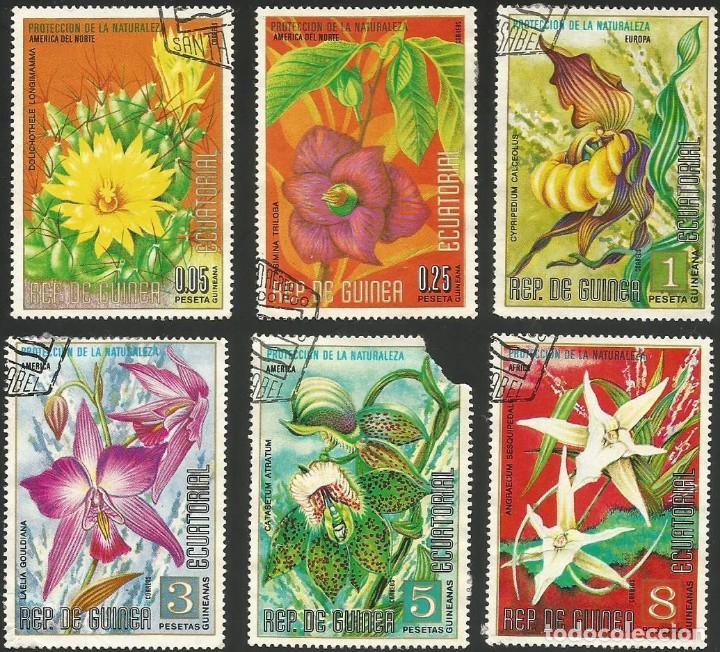 GUINEA ECUATORIAL 1974 - LOTE FLORES - 6 SELLOS USADOS (Sellos - Extranjero - África - Guinea Ecuatorial)