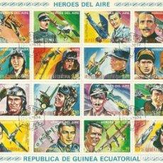 Sellos: HÉROES DEL AIRE. AVIADORES. GUINEA ECUATORIAL. 16 SELLOS EN HOJA SELLADOS. BUEN ESTADO. 15,5X20 CM. . Lote 164966406