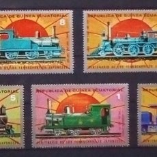 Sellos: GUINEA EQUATORIAL TRENES ANTIGUOS DE JAPON SERIE DE SELLOS NUEVOS. Lote 179185345