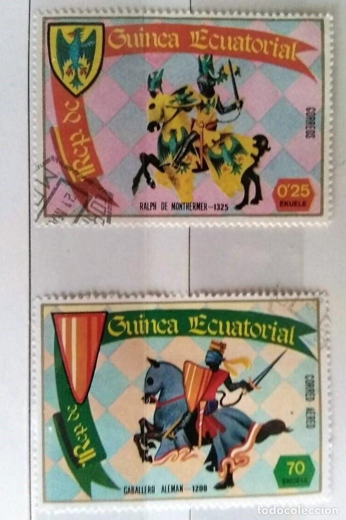 GUINEA ECUATORIAL, 2 SELLOS USADOS DIFERENTES CABALLEROS MEDIEVALES (Sellos - Extranjero - África - Guinea Ecuatorial)