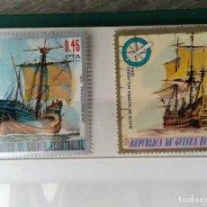 Sellos: GUINEA ECUATORIAL, 2 SELLOS USADOS DIFERENTES BARCOS DE GUERRA ANTIGUOS. Lote 182557922