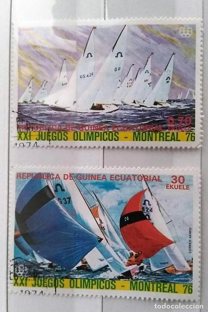GUINEA ECUATORIAL, 2 SELLOS USADOS DIFERENTES BARCOS DE JUEGOS OLIMPICOS MONTRAL 76 (Sellos - Extranjero - África - Guinea Ecuatorial)