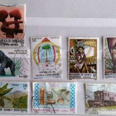 Sellos: GUINEA ECUATORIAL, 8 SELLOS USADOS DIFERENTES. Lote 182558058