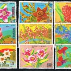 Sellos: GUINEA ECUATORIAL - LOTE DE 9 SELLOS - FLORES (USADO) LOTE 47. Lote 187446316