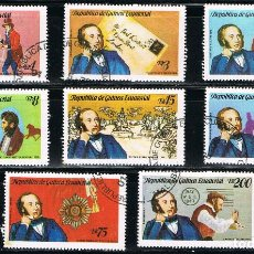 Sellos: GUINEA ECUATORIAL - LOTE DE 8 SELLOS - PERSONAJE (USADO) LOTE 49. Lote 187447478